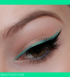 Maybelline Color Tattoo Eyeshadow in Edgy Emerald, used as eyeliner