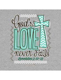 Cherished Girl God's Love Never Fails Chevron Cross Girlie Christian Bright T Shirt