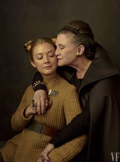 Carrie Fisher and her daughter, Billie Lourd, behind the scenes of Star Wars: The Last Jedi