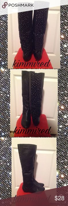 Black Rhinestone Boots ~ 10 Gorgeous black boots w/ rhinestones in the back.  They are worn as these were my favs. Because they were packed away, the front started peeling (see pics). I'm not sure how to stop this/correct it...(shoe store?). However, since these were my favs, I won't just give them away because they still look fine to me; I'd still wear them, even here in CA!  *do not know how to properly measure shoes/boots/circumference etc. I apologize in advance. I do know that I've wide…