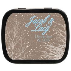 Snowy Tree Personalized Wedding Mint Tins - Brown and Blue Wedding Favor | Perfect Idea for Winter Wonderland Wed