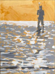 "Carol Bennett, ""King of the World Gold"", 12 x 9, Shellac, Ink, Oil on Paper 