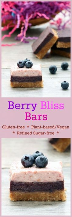 Berry Bliss Bars (Gluten-Free, Vegan/Plant-Based, Refined Sugar-Free)