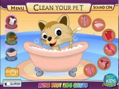 Pet Shop - Funny Kitty Bathing, Dress up game for little kids