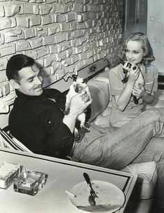 Clark Gable & Carole Lombard with furry friends