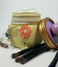 Vanity Mason Jar with Knob, Beige, Shabby Chic, Bridesmaid Gift, Bridal, Gift for Her, Jewellery Storage, Trinket Jar, Potpourri Holder by ShabbyChicRetreat on Etsy