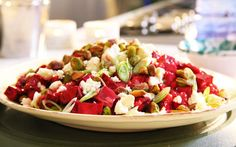 Look at this recipe - Siba's Beetroot and Feta Cheese Salad - from Siba Mtongana and other tasty dishes on Food Network. Corn Salad Recipes, Healthy Salad Recipes, Healthy Food, Food Network Uk, Food Network Recipes, Sibas Table Recipes, Slow Roast Lamb, Pesto Dressing, Cheese Salad