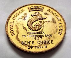 Vintage 1957 Royal Ocean Racing Club Medal / Medallion - Yacht Sailing