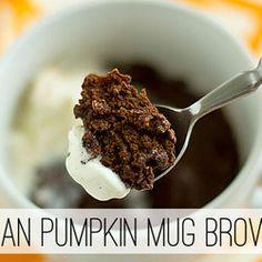 Vegan Pumpkin Mug Brownie :: I want to try subbing agave, honey, or orange juice for the sugar