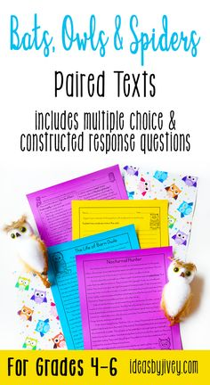 Paired texts and passages are great for providing students with more complex texts to compare and build knowledge. These differentiated passages are perfect for 4th grade and middle school! Click the pin to see some of the texts about bats, owls, and spiders included.