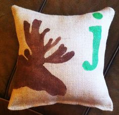 Moose Pillow with Lower Case Monogram by ModernRusticGirl on Etsy, $22.00