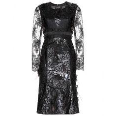 Bobbin appliquéd lace and faux leather dress seen @ www.mytheresa.com