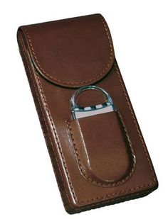 3 Cigar Leather Case w/ Magnetic Closure & Cutter (Brown)