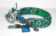 malachite, jet picasso beads and Afghani turquoise