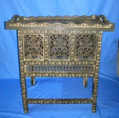 Antique-Old-Collectible-Wooden-Hand-Carved-Center-Side-Folding-Decorative-Table