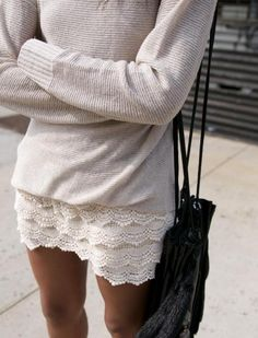 Cream jumper and pretty skirt