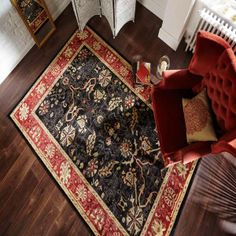 Zeigler Arak Black Rust Floral Traditional Rug by Flair Rugs Neutral Colors, Colours, Machine Made Rugs, Traditional Rugs, Rugs Online, Rug Making, Wool Rug, Rust, Floral Design