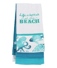 Love this 'Life Is Better' Dish Towel - Set of Three on #zulily! #zulilyfinds
