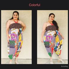 """Romper or Pants Two ways to dress it . Could be used as a romper or pants . So colorful and vibrant would go with any of your accessories and shoes .  Could easily got upto size 22I m size 16-18 and 5""""2 modeling for u . 100% cotton fabric material with elastic at waist in patch material  . Waist measures without stretch 31"""" and goes upto 60"""" with stretch . Length measures 41"""" with elastic at the bottom . Nwot  . Please ask any question you have before buying it . There is no size tag on item…"""