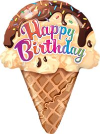 Happy Birthday - Ijsje - XL Folie BallonMaat: 27 Inch./69cmVulling: Lucht of HeliumSluiting: zelfsluitend ventielDus de ijsje ballon wordt plat verzonden, je kan hem zelf met een pompje opblazen