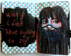 An #illustrated page in my art journal #sketchbook, about #anxiety including a double exposure #portrait of a #woman with her mouth covered and doodles. I created this page with acrylic paint, acrylic marker, and #ink.
