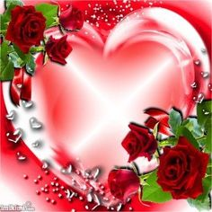 By Artist Maria Elena Lopez. Heart Pictures, Rose Pictures, Heart Images, Beautiful Pictures, Heart Pics, Good Night I Love You, Birthday Frames, Hearts And Roses, Heart Frame