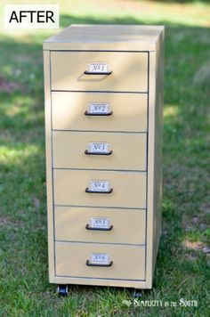 Tips for painting metal furniture with Annie Sloan Chalk Paint | Ikea Helmer Metal Cabinet