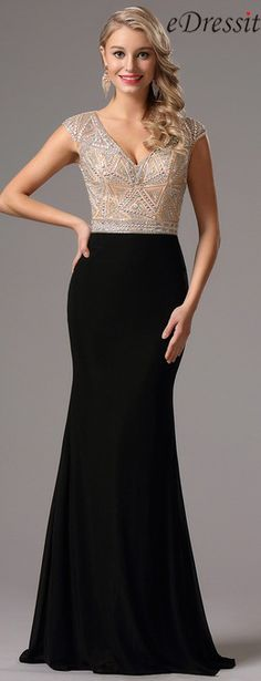 eDressit Capped Sleeves Plunging Neck Beaded Formal Dress