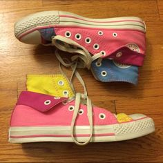 4448dae5621c Pink Blue Yellow Custom Double Hi Top Converse Custom colored Converse  purchased and designed on Converse s