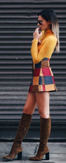 Patchwork mini skirt + Danielle Bernstein + mustard top + knee high suede boots  Skirt: Asos, Top: Topshop, Boots: Zara.