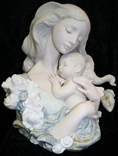 Golden Swann Lladro Mother and Baby Figurine Statues, Swarovski, Precious Moments Figurines, I Love My Son, Japanese Porcelain, Unique Art, Sculpture Art, Madonna, Inspiration