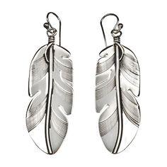 Boucles d'oreilles Navajo Plume en argent 6,5cm x 1,7cm | Harpo Paris #Harpo #bijouxargent