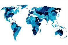 Blue world map watercolor art print Digital by TravelBugStudio