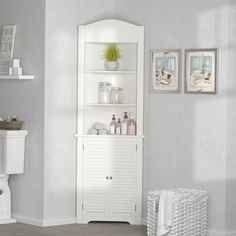 Great for Ellsworth W x H x W Free-Standing Linen Cabinet by Rebrilliant top rated furniture sale from top store Cabinet Shelving, Shoe Storage Cabinet, Toilet Storage, Laundry Room Storage, Storage Rack, Storage Cabinets, Open Shelving, Linen Cabinets, Cabinet Decor