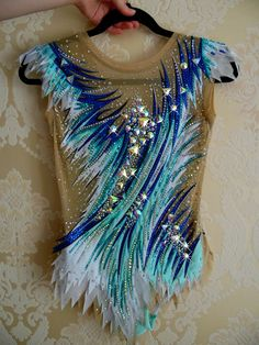 Acrobatic Gymnastics, Rhythmic Gymnastics Leotards, Turquoise, Beaded Lace, Ice Skating, Bodysuits, Costumes, Pretty, Fashion