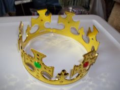 Kings Crown Jeweled Adjustable Gold Solid Plastic Child or Adult #Jacobson