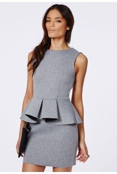 Stella Contrast Peplum Bodycon Dress Grey/Black
