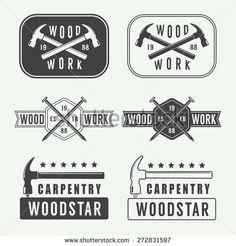 Set of vintage carpentry labels, emblems and logo
