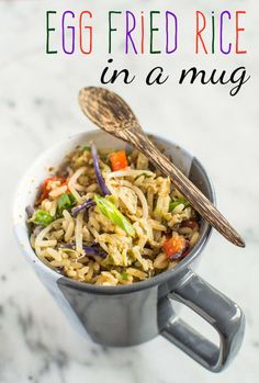 """""""My lazy go to-is frozen stir fry veg mix + peanut butter + chilli sauce. Zap it in the microwave and stir then BAM = satay vegetables! Add coriander to season or sesame seeds if you're feeling fancy."""" —Kirsten Garcia, FacebookFind the full fried rice in a mug recipe here."""