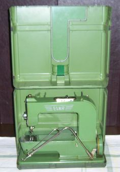 Vintage ELNA Grasshopper Sewing Machine Case Accessories -- case makes sewing extension table