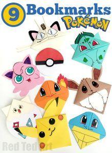 9 Wonderful Pokemon Bookmark Corners. Make one. Make them ALL. The kids will love them (mine do!!)