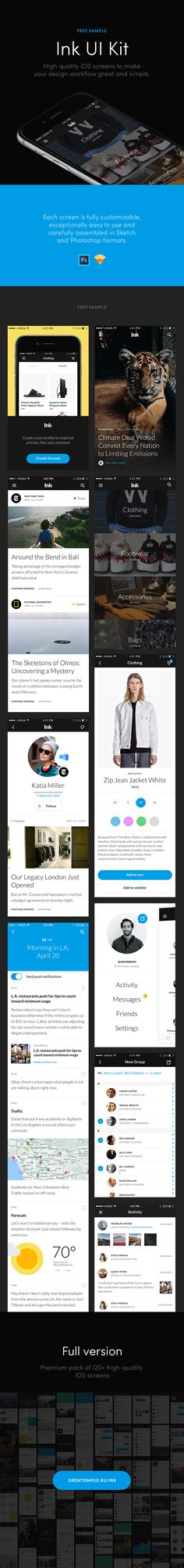 Treat yourself to this high quality iOS 8 UI kit created to simplify your workflow and help you create your own app. The Ink UI kit includes scr. Create Your Own App, Minimal Theme, Ios 8, Le Web, Free Graphics, Ui Kit, Ui Ux Design, Mobile Ui, Free Samples