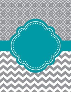 Moroccan and Chevron Binder and Spine Covers ~ Two Versions ~Teal and Gray or Light Teal and Gray Who doesn't love cute binder and spine covers? With these, you can add a label to it or write on it. Use a silver sharpie on black! You could also type your Chevron Binder Covers, Cute Binder Covers, Binder Cover Templates, Silver Sharpie, Teal And Grey, Gray, Binder Organization, College Organization, Notebook Covers