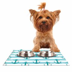 """afe images """"Nautical Anchor Pattern"""" Teal Blue Illustration Dog Place Mat from KESS InHouse"""