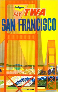 Transcontinental Western Air (TWA) | Beautiful Vintage San Francisco Travel Posters