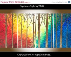 """48"""" large Oil landscape Painting Textured  impasto  Wall art  """"The Enchanted Forest"""" by QIQIGALLERY"""
