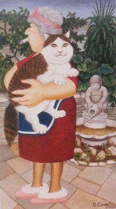 Beryl Cook. Моя кошка не толстая! Просто она пушистая и у неё толстая кость!