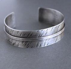 Mens Sterling Silver Cuff Bracelet Rustic Wide Band by LynnToddDesigns