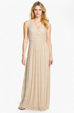 Textured Front Pleat Surplice Maxi Dress