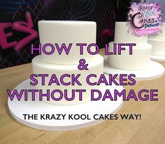 After you've spent so much time smoothing your icing to get it perfect the last thing you want is to ruin it when you stack your cake... Cakes To Make, How To Stack Cakes, Fancy Cakes, How To Make Cake, Cake Decorating Techniques, Cake Decorating Tutorials, Cookie Decorating, Decorating Cakes, Cake Icing Techniques